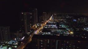Aerial night video Sunny Isles Beach FL 2 stock footage