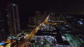 Aerial night video Sunny Isles Beach FL 3 stock video