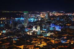 Aerial night view at Alicante, Costa Blanca, Spain Royalty Free Stock Photo