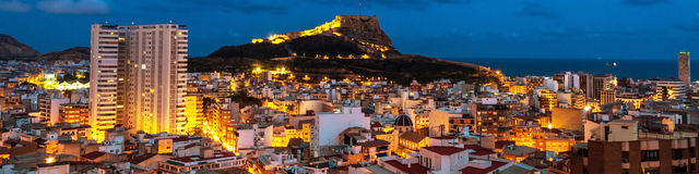 Aerial night view of Alicante Stock Images