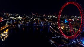 Aerial Night View Of Big Ben & The River Thames In London stock video footage