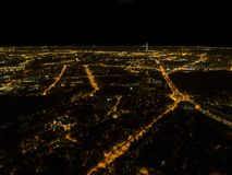 Aerial night view of a big city. Beautiful cityscape panorama at night. Aerial view of buildings an roads with car in the city at. Night time. Aerial bird`s eye stock image