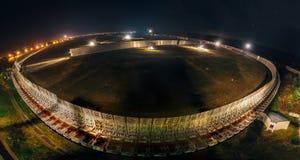 Aerial night view of big radio telescope RATAN-600 SAO RAS. Zelenchukskaya, Karachay-Cherkessia, Russia.  royalty free stock image