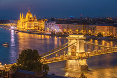 Aerial night view of Budapest, capital city of Hungary Stock Images