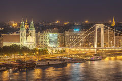 Aerial night view of Budapest, capital city of Hungary Royalty Free Stock Photos