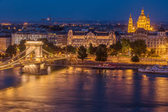 Aerial night view of Budapest, Hungary Stock Photography
