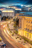 Aerial night view of Calea Victoriei, Bucharest, Romania. Stock Images