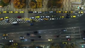 Aerial night view of cars and street traffic in the city downtown. Varna, Bulgaria stock video footage