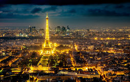 Aerial night view of the city of Paris, France. Royalty Free Stock Photo