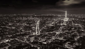 Aerial night view of the city of Paris, France. Stock Image