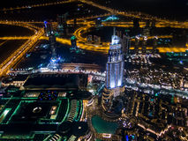Aerial night view of downtown Dubai  from Burj Khalifa Royalty Free Stock Photography