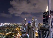 Aerial night view of Downtown Dubai skyline Stock Photography