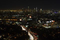 Aerial, night view of downtown Los Angeles in California royalty free stock image