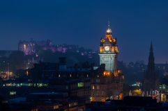Aerial night view of Edinburgh castle Royalty Free Stock Images