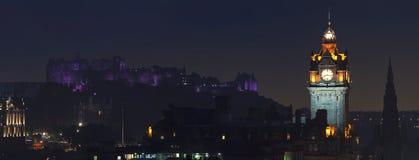 Aerial night view of Edinburgh Stock Photography