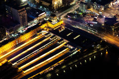 Aerial night view of Flinders Street Station in Melbourne CBD Stock Photography
