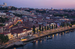 Aerial night view of Gaia, Portugal Royalty Free Stock Image