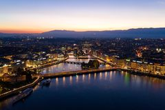 Aerial  night view of Geneva city waterfront skyline in Switzerl stock photo