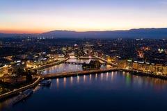 Aerial night view of Geneva city waterfront skyline in Switzerl stock photo