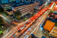 Aerial night view of Kampala Road, Kampala, Uganda. Aerial view of corner, Kampala Road and Speke Road at night looking east, with traffic lights and Royalty Free Stock Photography