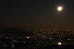 Aerial night view, Lago Maggiore, Italy Stock Images