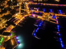 Aerial night view of Limassol Marina Stock Photos