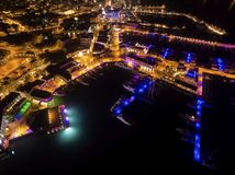 Aerial night view of Limassol Marina Royalty Free Stock Photo