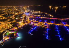 Aerial night view of Limassol Marina Royalty Free Stock Image