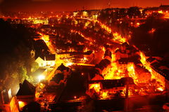 Aerial night view of Luxembourg lower part Royalty Free Stock Photography
