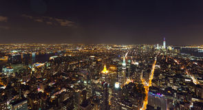 Aerial night view of Manhattan Royalty Free Stock Photo