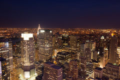 Aerial night view of Manhattan skyline - New York - USA Royalty Free Stock Images