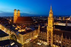 Aerial Night view of New Town Hall on Marienplatz in Munich, Ba. Aerial Night view of New Town Hall Neues Rathaus on Marienplatz in Munich city, Bavaria, Germany stock photos