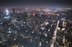 Aerial night view of the New York City. Stock Image