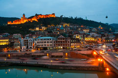 Aerial night view of Old Tbilisi, Georgia. With illuminated castle at the background Stock Images