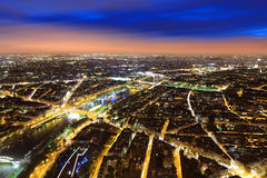 Aerial Night view of Paris Stock Photos
