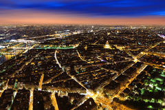 Aerial Night view of Paris Stock Image