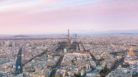 Aerial night view of Paris, France Royalty Free Stock Image