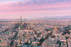 Aerial night view of Paris, France Royalty Free Stock Photos