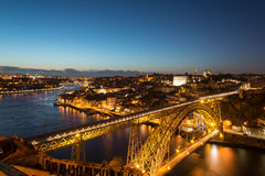 Aerial night view of Porto Oporto, Portugal Stock Images