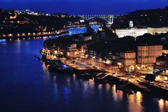 Aerial night view of Porto Royalty Free Stock Images