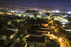 Aerial night view on Puerto de la Cruz. La Orotava, Los Realejos Royalty Free Stock Photo