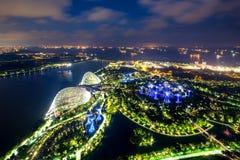 Aerial night view of Singapore Gardens near Marina Bay in Singap Royalty Free Stock Image