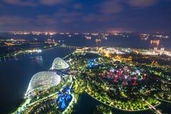 Aerial night view of Singapore Gardens near Marina Bay in Singap Royalty Free Stock Photos