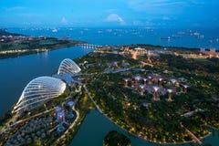 Aerial night view of Singapore Gardens near Marina Bay in Singap Royalty Free Stock Photo