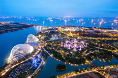 Aerial night view of The Supertree Grove at Gardens near Marina Bay. Stock Photo