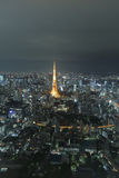 Aerial night view of tokyo tower from Mori tower Stock Image