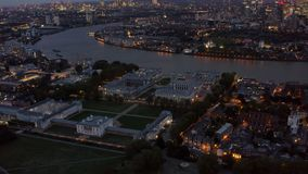 Aerial Night View University of Greenwich in London stock photos