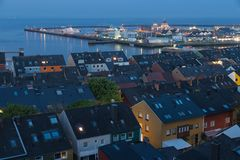 Aerial night view Helgoland with view at harbor and northsea. Aerial night view village Helgoland with view at harbor and northsea Stock Image