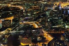 Aerial nightscape of Melbourne CBD Stock Image