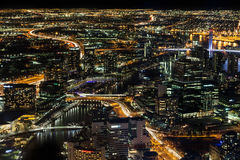 Aerial nightscape of Melbourne CBD Royalty Free Stock Photos